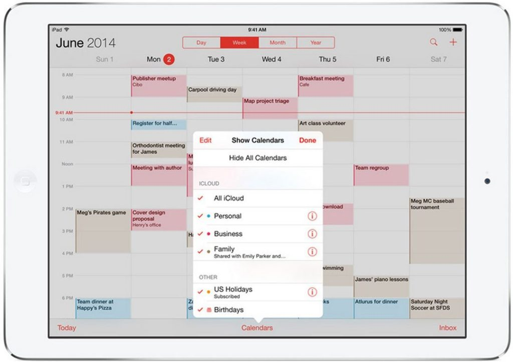 Partager calendrier ios 8