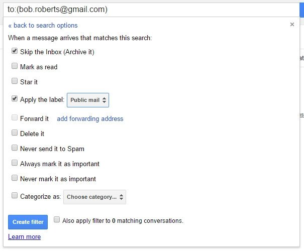 Création de filtre dans Gmail