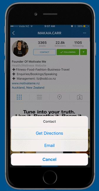 Contact sur Instagram