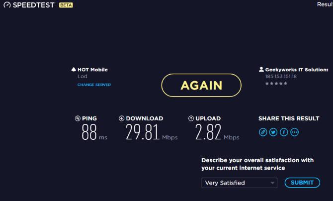 speedtest avec vpn